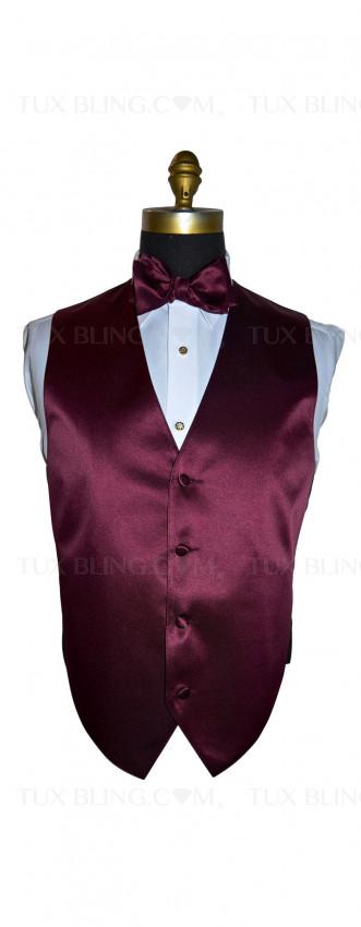 men's wine tuxedo vest and bowtie by San Miguel Formals