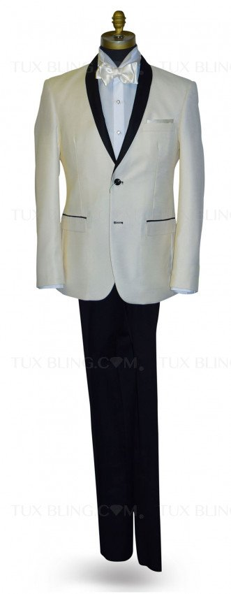 Ivory Coat With Black Shaw Collar Ensemble