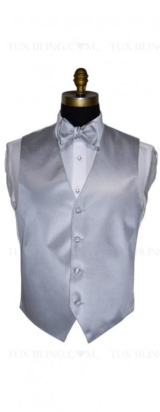 men's silver vest and silver tie-yourself bowtie