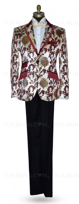 Champagne Tuxedo with Burgundy and Gold Brocade Ensemble