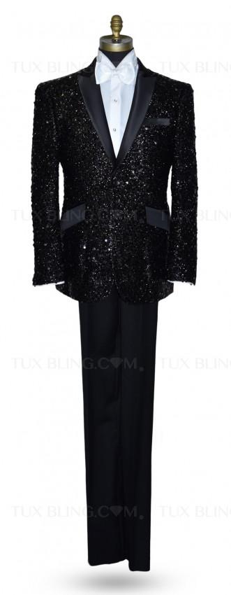 Black Sequins Tuxedo Ensemble
