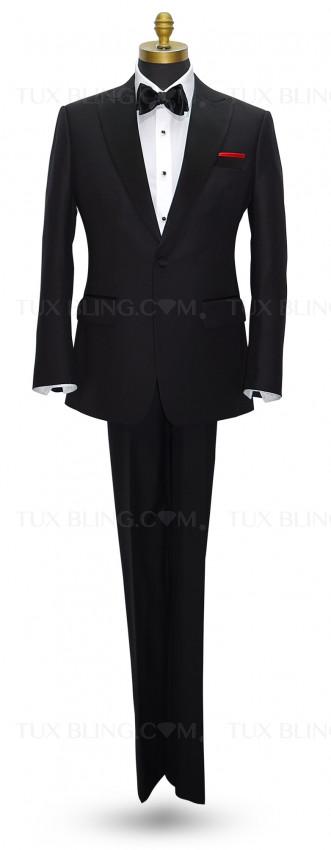 Black Peak Lapel Tuxedo Set - Coat and Pants Ensemble.