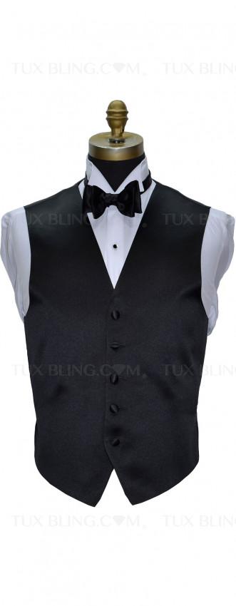 men's black satin tuxedo vest with black bowtie