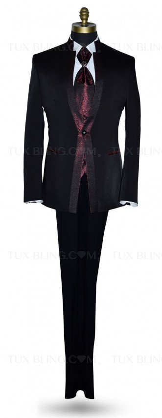 Nehru Tuxedo Ensemble with Scarlet Red Accents-4 Piece