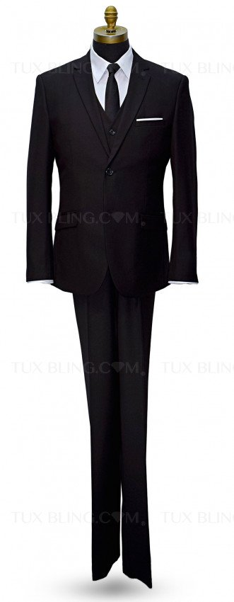 Black Slim Fit Suit - 3 Piece Ensemble. Coat, Pants and Vest