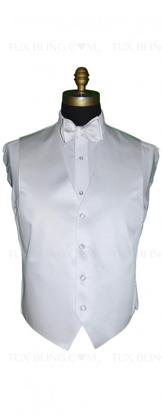 men's white tuxedo vest and white tie-yourself bowtie by San Miguel Formals