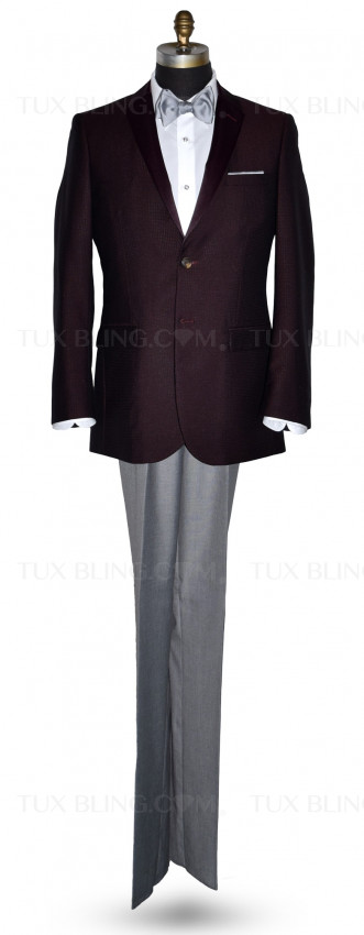 Burgundy Tuxedo with Burgundy Satin Lapel Ensemble