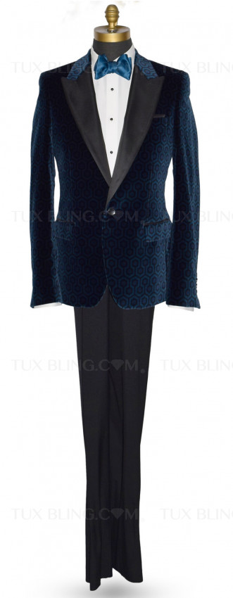 Evening Blue Velvet Hexagon Ensemble
