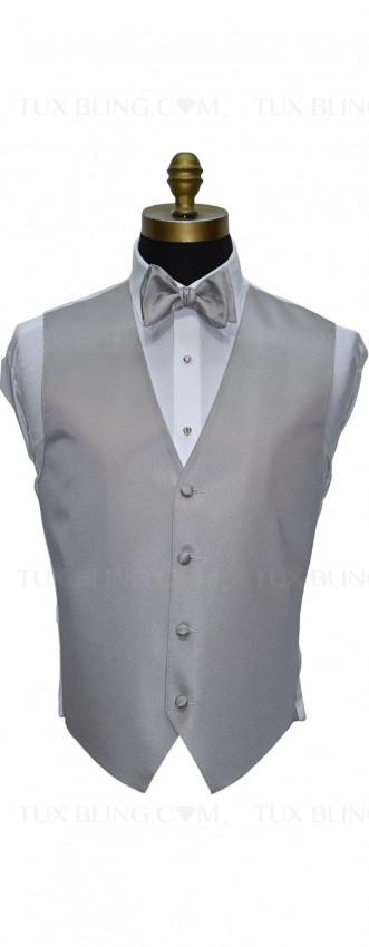 men's and boy's light gray vest and bowtie by San Miguel Formals