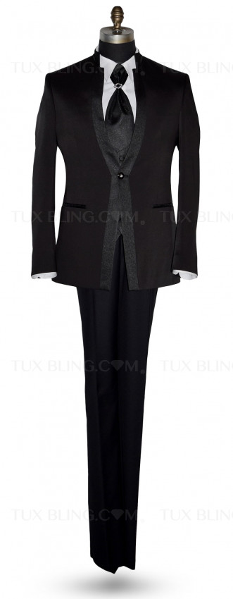 Men's Black Nehru Tuxedo Ensemble with Black Accents