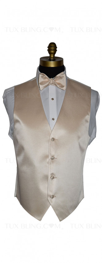 champagne vest and champagne self-tie bowtie with mother of pearl studs and cufflinks with gold trim