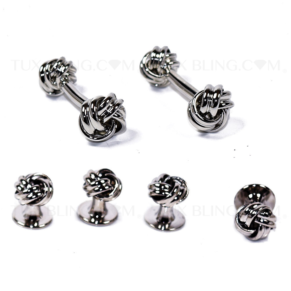 Crystal in Silver Loveknot Studs and Cufflinks Set