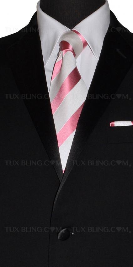 FANDANGO PINK AND WHITE SILK DRESS TIE