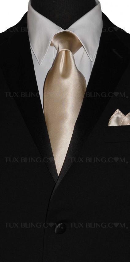 champagne silk long tie for men