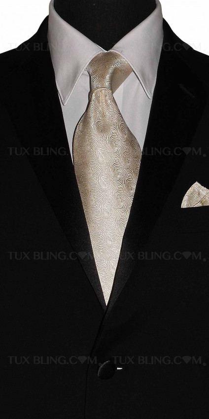BONE-CHAMPAGNE SILK BROCADE DRESS TIE