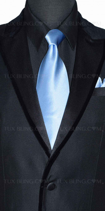 men's light blue silk long dress tie  with black tuxedo
