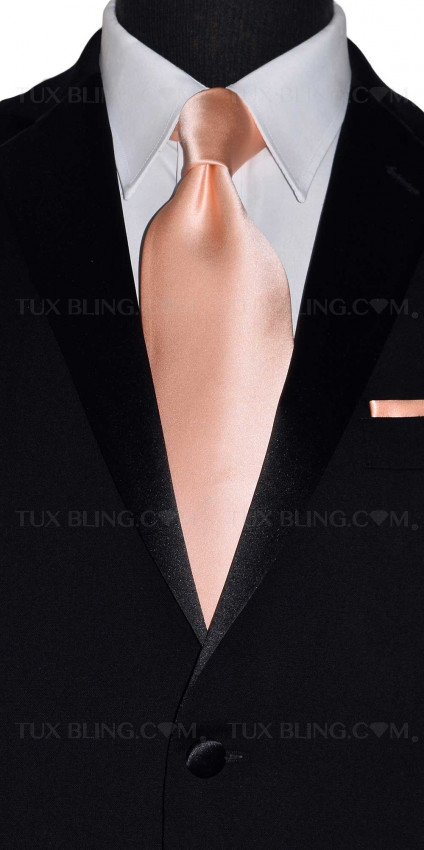 peach long tie for men with peach pocket handkerchief