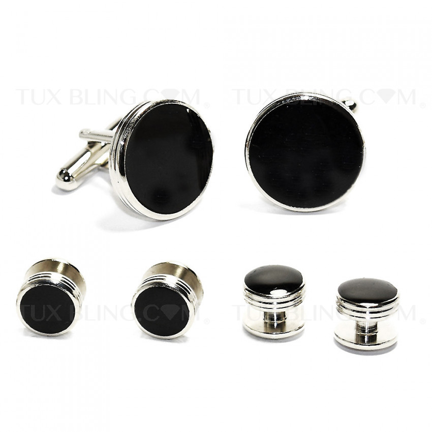 Silver and Black Cufflinks and Stud Set