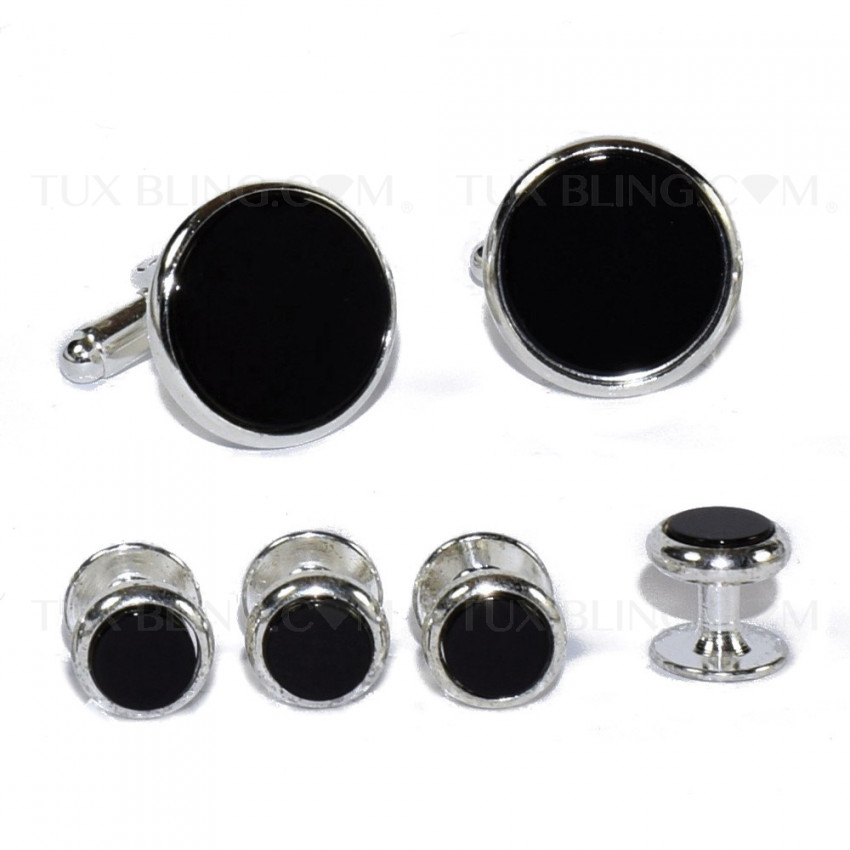 Genuine Onxy Cufflinks and Stud Set