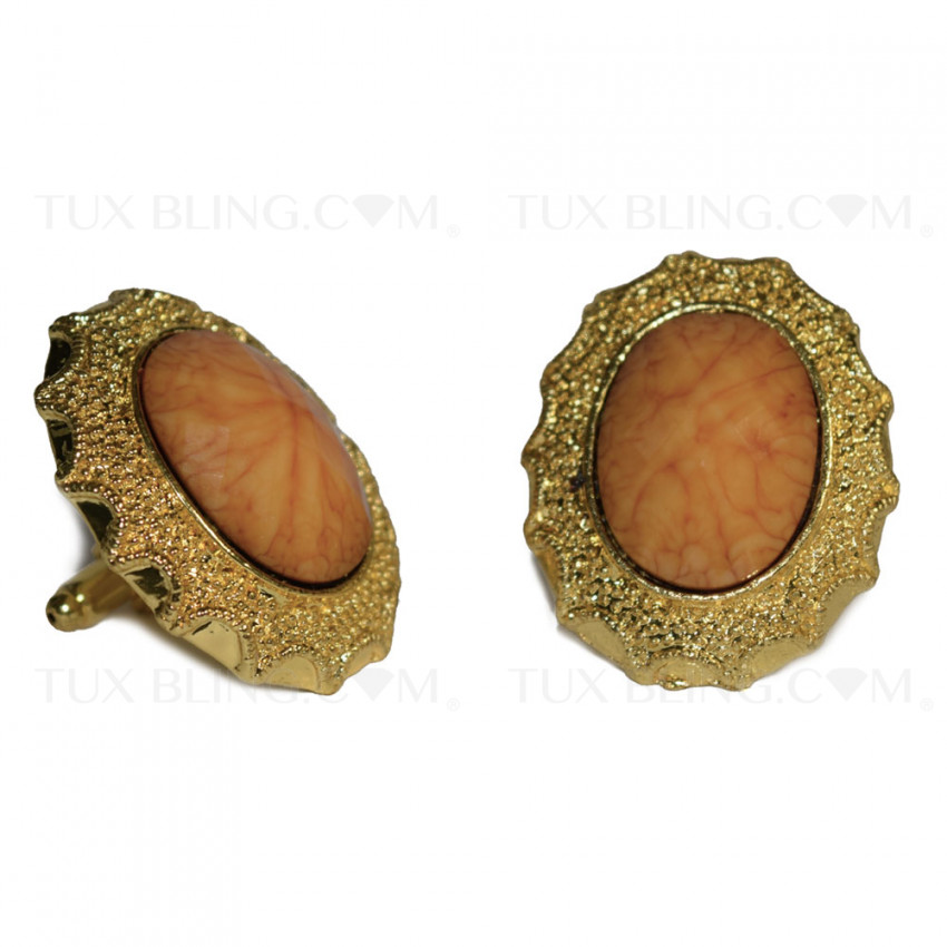 GOLD COLORED BLING CUFFLINKS