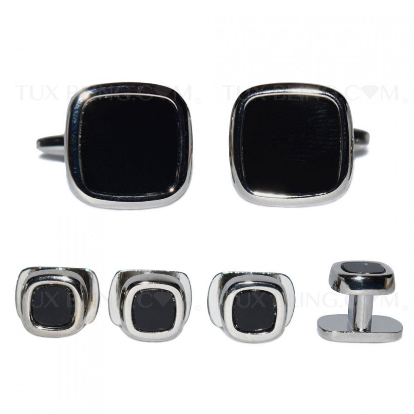 ONYX CUFFLINKS AND STUDS - UNIQUE