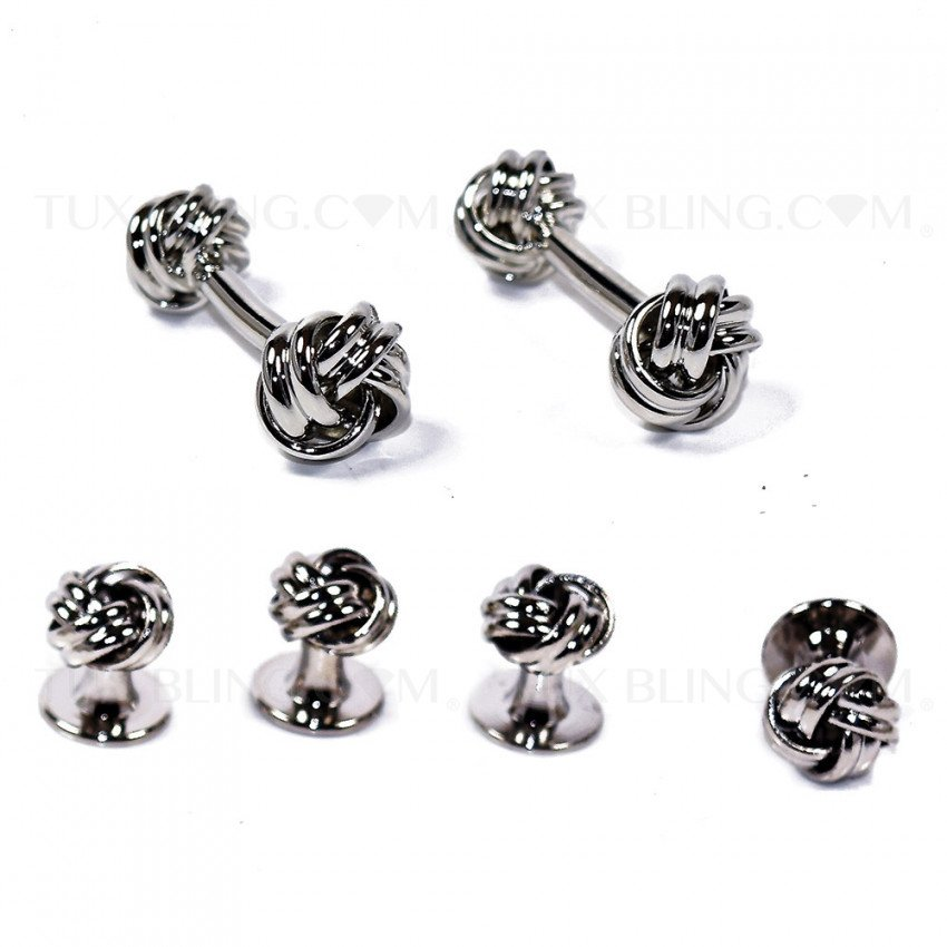 Silver Rope Cufflinks and Stud Set