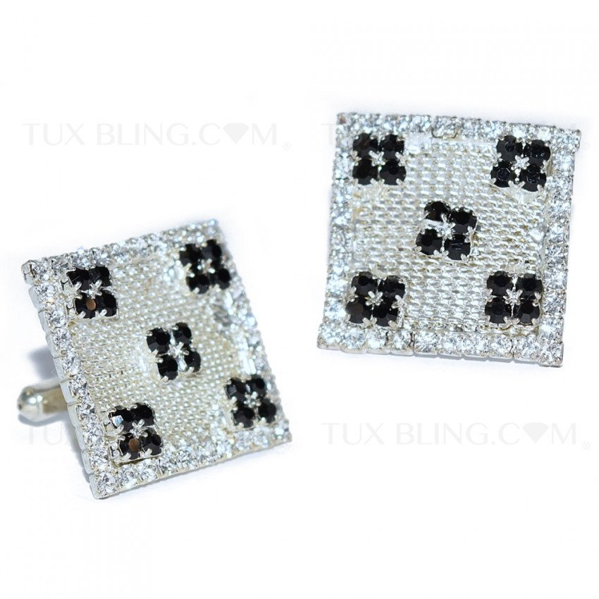 BLING CUFFLINKS SQUARE WITH CZ'S