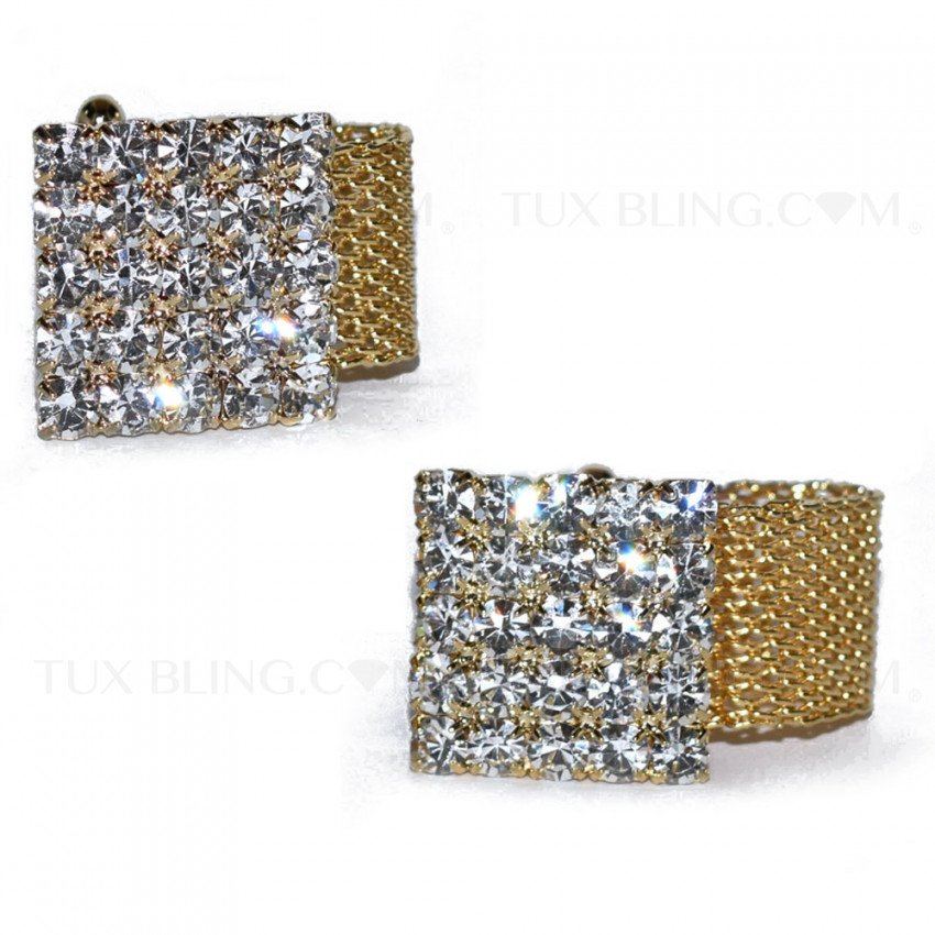CRYSTAL AND GOLD WRAP CUFFLINKS