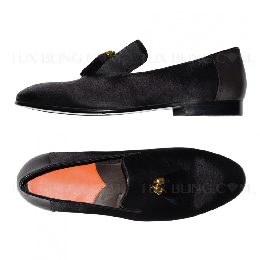 BLACK VELVET SLIP-ON TUXEDO SHOES