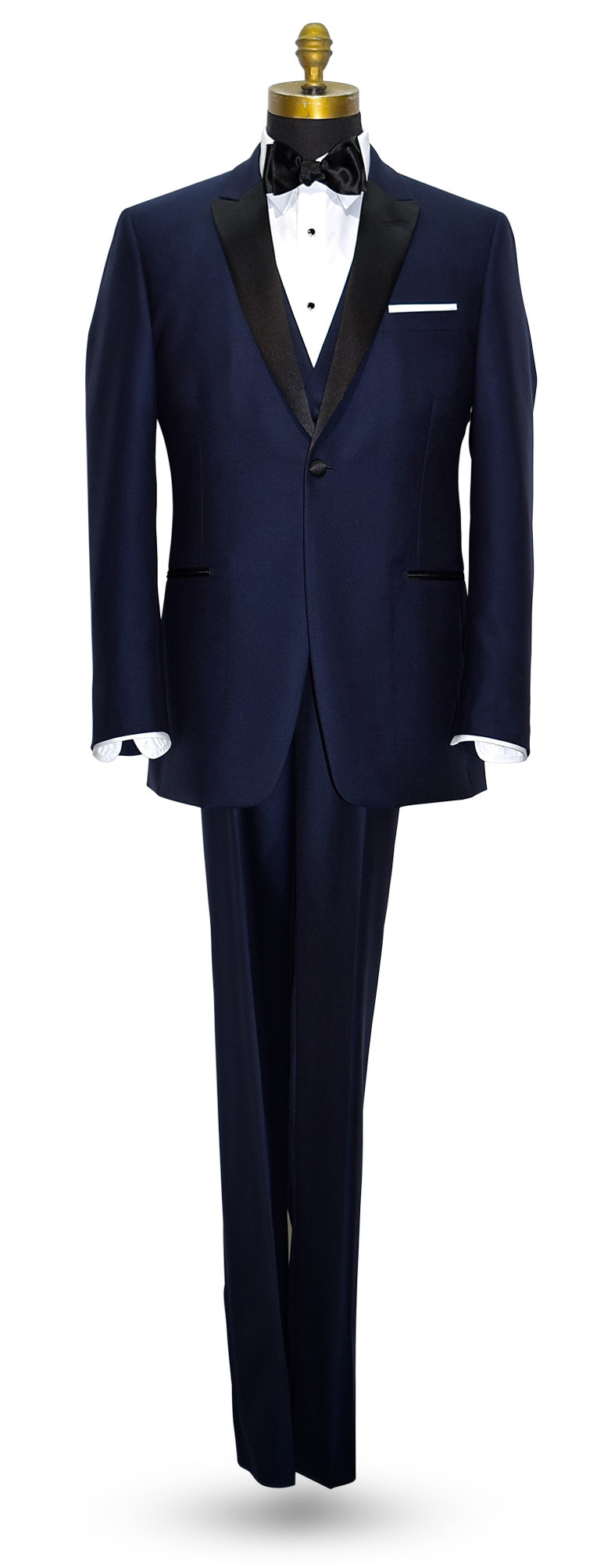 NAVY BLUE TUXEDO WITH BLACK PEAK LAPEL - COAT AND PANTS SET