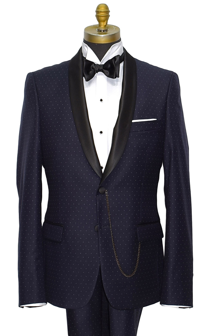 NAVY BLUE COSMOS SUPERFINE SHAWL COLLAR TUXEDO ENSEMBLE