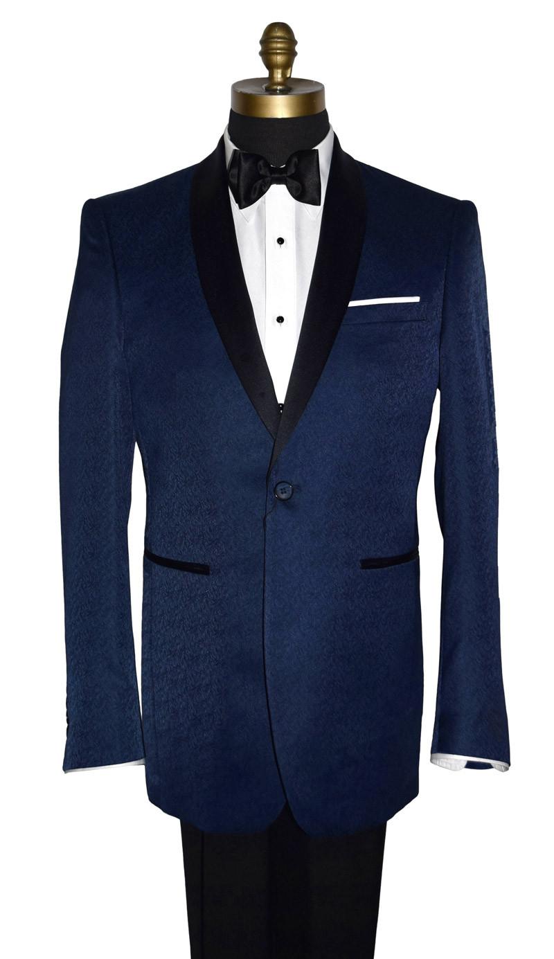 Blue Tuxedo with Black Shawl Collar