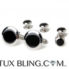Silver and Black Cufflink and Stud Set