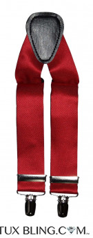 VALENTINA-RUBY RED SATIN SUSPENDERS