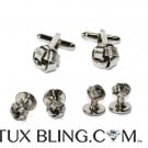 Silver Love Knot Cufflink and Stud Set