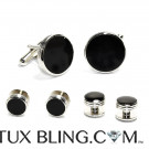 Black and Silver Cufflink and Stud Set