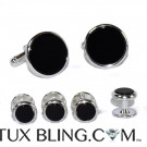 GENUINE ONYX CLASSIC CUFFLINKS AND STUD SET
