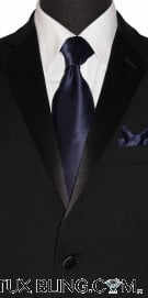 MIDNIGHT BLUE-NAVY SILK DRESS TIE