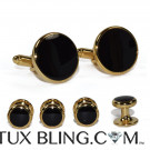 CLASSIC BLACK CUFFLINKS AND STUDS SET IN GOLD FINISH