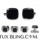 Onyx Cufflinks and Studs - Unique Design