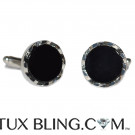 ONYX CUFFLINKS ONLY - CASTLE CUT
