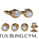 CUFFLINKS AND STUDS CUBIC ZIRCONIA - FULL SET