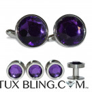 AMETHYST PURPLE CUFFLINKS AND STUDS SET