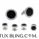 BLACK CUFFLINKS AND STUDS WITH CRYSTALS