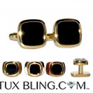 SQUARISH CUFFLINKS AND STUDS-GOLD FINISH