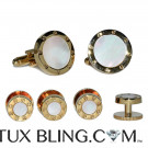 MOTHER OF PEARL CUFFLINKS AND STUD SET - GOLD FINISH