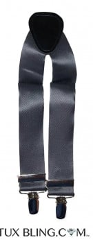 CHARCOAL SATIN SUSPENDERS
