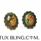 Green Amber Colored Bling Cufflinks