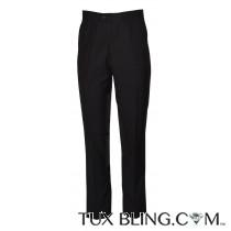 BLACK SLIM TUXEDO PANTS-SYNTHETIC FIBERS