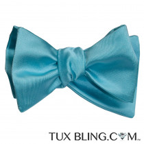 Turquoise Self Bow Tie and Pocket Hankie -TIE YOURSELF